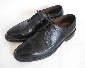 Vintage Portage Porto-Ped Leather Wingtip Mens Dress Shoes 11.5D Black Pebbled Lace Up Retro 60s  Made USA Milwaukee Wisconsin