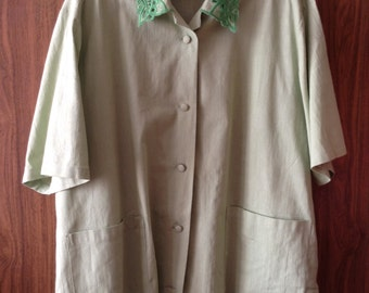 Linen Blouse With Embroidery And Broderie Anglaise
