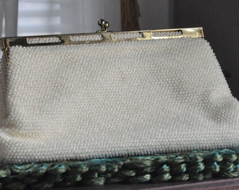 Vintage Lumured Petite-Bead Clutch Purse