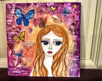 Original painting ,Girl painting  butterflies,