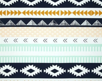 Arid Horizon, Arizona Collection,  Aztec Fabric, Art Gallery Fabrics, April Rhodes, Navy and Mint Fabric, ARZ-557