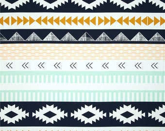 Arid Horizon, Half Yard, Arizona Collection,  Aztec Fabric, Art Gallery Fabrics, April Rhodes, Navy and Mint Fabric, ARZ-557