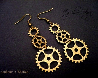 Mechanical gears earrings