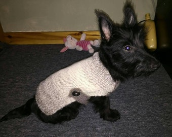 Hand Knit Dog Sweater in Creme/Taupe