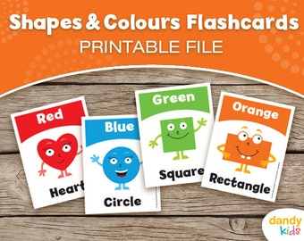 Shapes & Colours Flashcards / Printable Flashcards / Set of 8 / Educational Flashcards