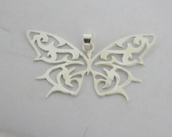 925 Sterling Silver Butterfly Shape Pendant
