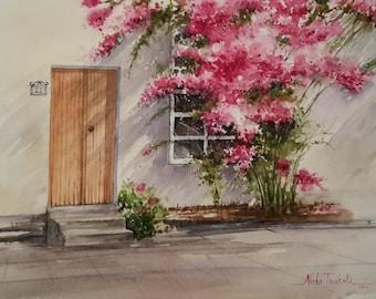 Original Flower blossom landscape, window & door, Watercolor Painting Art 28 x 38 cm