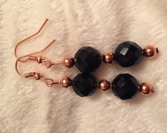 Black onyx and rose gold earrings