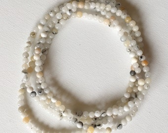 Beaded Grey Quartz Double Wrap Necklace
