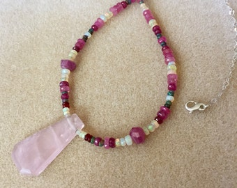 Rose Quartz with White Precious Opal, Black Precious Opal, Pink Sapphire, Fire Opal & Sterling Silver adjustable chain and clasp