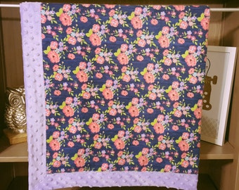 Purple Minky Blanket with Dark Blue and Floral Flannel Blanket