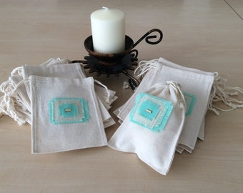 35 Cotton Drawstring Pouches for Gift Bag,Jewelry,Wedding Favors,Handmade Cotton Pouch