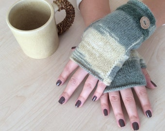 Hand Knitted Fingerless Gloves,Mohair Fingerless Glove