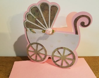 Baby Girl Buggy Card for Birth or Shower