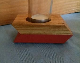 Reclaimed Wood Votive Candle Holder, Arrow Shape, Coral