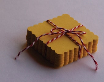 """GIFT TAGS blank 2"""" 25pcs. YELLOW 2"""" die cut blank gift tags/23sweets/wedding tags/rustic/party/gift/hang tags/scrap booking/paper supplies"""