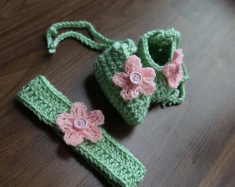 Ballet Baby Shoes (Green) With matching headband