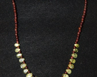 Peridot and Garnet Necklace