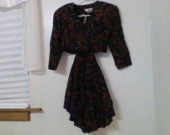 Jonathan Martin Vintage 1960's Floral Short Skirt Set