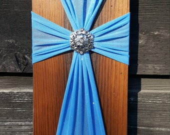Blue Fabric and Reclaimed Wood Cross