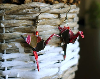 Origami Flemish bird earrings pink
