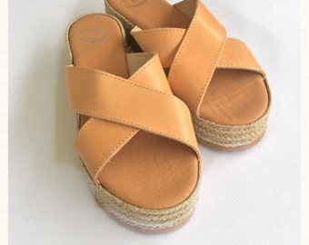 Genuine Leather , Handmade Strappy Sandals with 4 cm sole