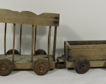 Vintage Wooden Handmade Train Cars 2