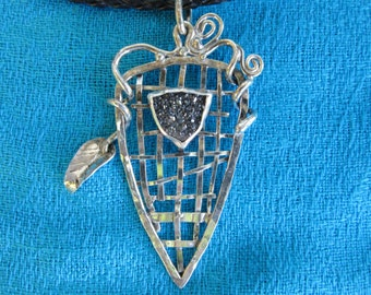Handwoven Sterling Silver Shield Pendant with Black Drusy Stone