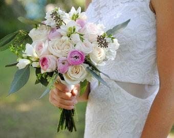 Navy blue wedding flower package dusty blue wedding anemone pink wedding flower package seeded eucalyptus with pink ranunculus wedding flowers junglespirit Choice Image