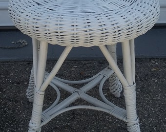 White Wicker Rattan Woven Stool Bamboo  Mid Century Small  Foot Ottoman Plant Stand Patio Furniture