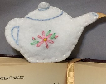 Hand Embroidered Wool Felt Teapot Weighted Bookmark