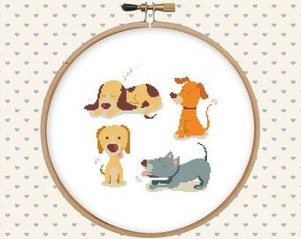 Dog cross stitch pattern pdf - instant download - animal cross stitch - easy cross stitch pattern