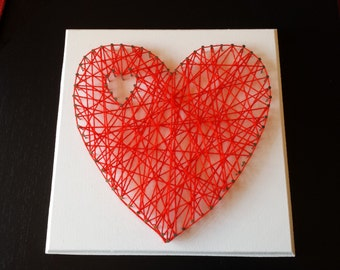 Wall Nail/Pin Art - Red Love Heart, white background
