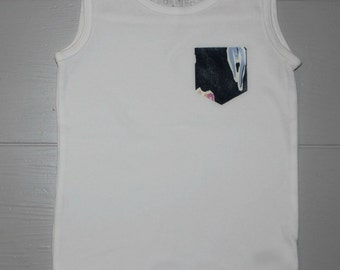 4T White Tank Top with Navy Floral Accent Pocket