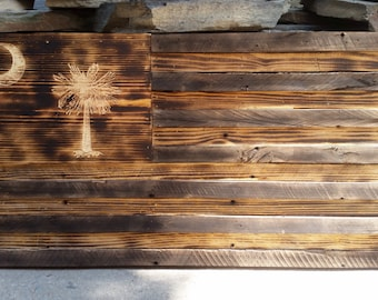 """Wooden """"The Palmetto State"""" American Flag"""