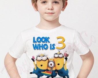 Customized Minions Birthday Shirt Add Name & Age Personalized Minions Birthday Tshirt