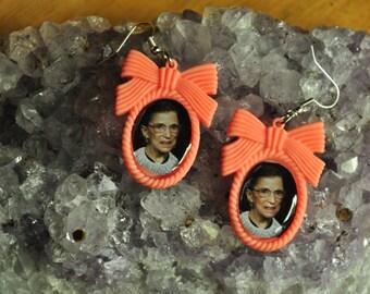Ruth Bader Ginsberg Earrings-Resin Bow Settings-RBG