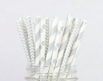 Metallic Silver Paper Straws - Birthday Party, Bridal Shower Decorations, Cake Pop Sticks, Wedding Decor, Metallic Silver Party Supplies