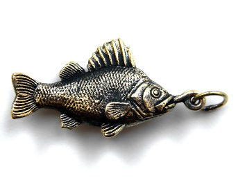 Bronze pendant the Perch Fish pendant Funny pendant Beach jewerly Fish necklace Fish jewelry Fish charm Perch Gift for fisher Sea jewelry