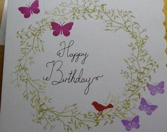 Leaf wreath Handmade Birthday Card