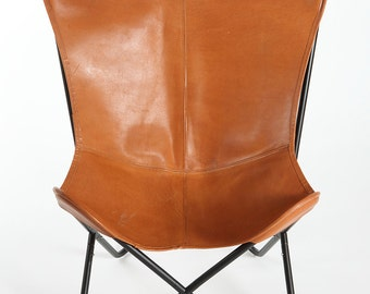 Brown Saddle Genuine Leather Butterfly Chair - Cowhide BKF