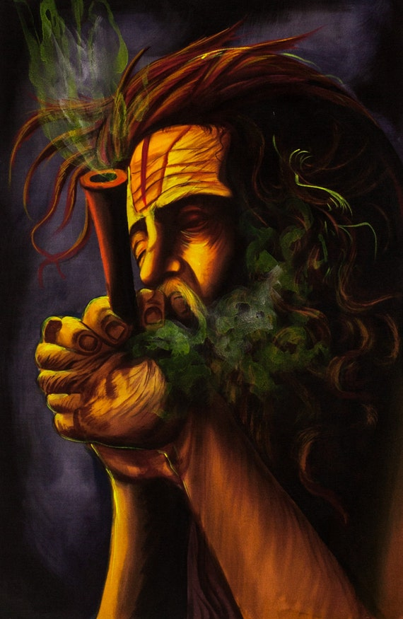 SMOKING SADHU Psychedelic Art Hand Painted Handmade