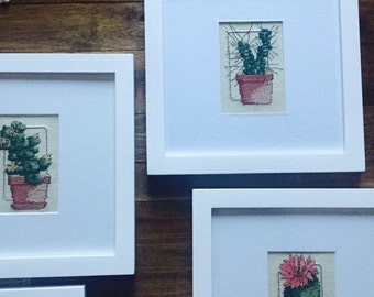 """Vintage blooming cactus cross-stitch // 8"""" x 8"""""""
