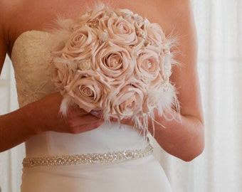 blush bouquet with maribou feathers