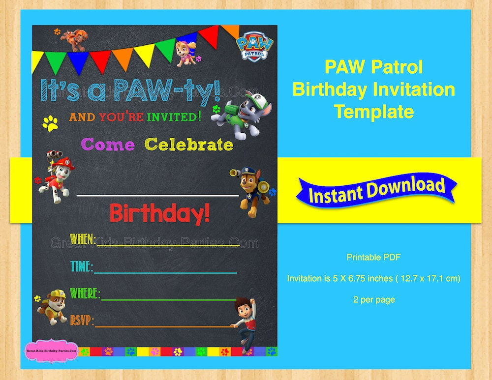 Paw Patrol Invitation Template Blank Barca Fontanacountryinn Com