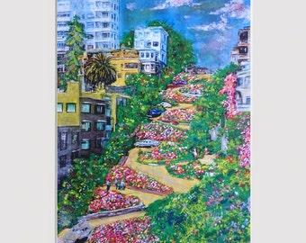 Lombard Street PRINT of original painting, Crooked St, San Francisco, flower art, cityscape, landscape, wall art, garden art, bay area art