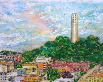 Coit Tower, Telegraph Hill, San Francisco, fine art of original painting, 16x20 mat, frame-ready, artwork, landscape, cityscape, view