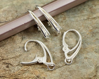 Quality Lever-back Ear Hooks Sterling Silver 925 EU made CHOOSE QUANTITY ( art.538S)