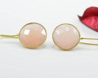 Rose Quartz Earrings, Drop Rose Quartz Earrings, Silver Rose Quartz Earrings, Gold Rose Quartz Earrings, Rose Quartz Silver Earrings