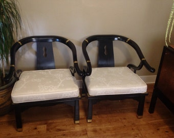 Pair of Vintage Mid Century Modern Asian MING Chairs
